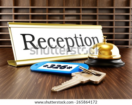 Hotel reception placard, service bell and room keys