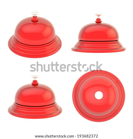 Hotel reception red glossy bell isolated over the white background, set of four foreshortenings - stock photo