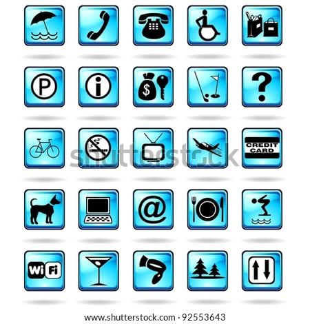 Hotel Resort Symbols Icons Blue - stock photo