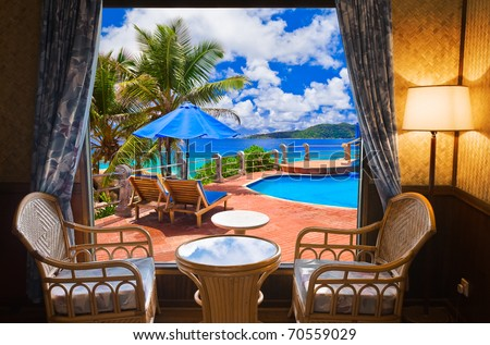 Hotel room and beach landscape - vacation concept background - stock photo