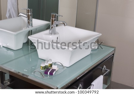 hotel room bathroom - stock photo