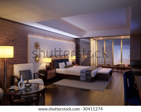 Hotel room. Design a room in the hotel - stock photo