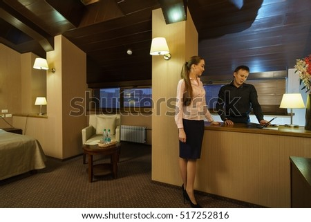 Hotel room for meetings. Image of partners working
