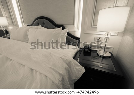 Hotel room or bedroom Interior. hotel concept.