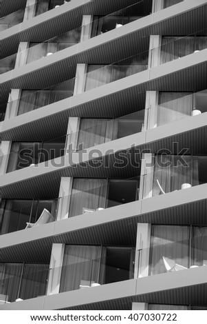 Hotel room symmetry; Spain - stock photo