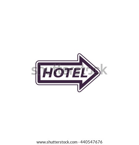 Hotel signboard pictogram. Simple blue icon on white background - stock photo
