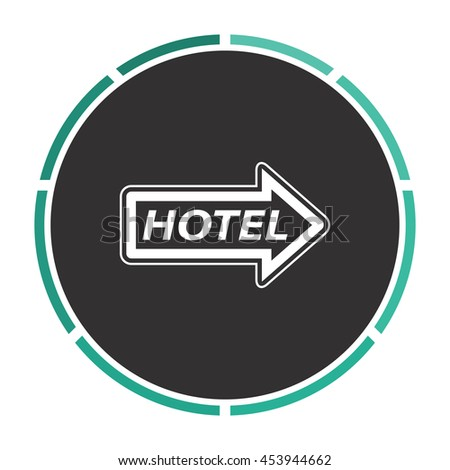 Hotel signboard pictogram. White circle button on black background - stock photo