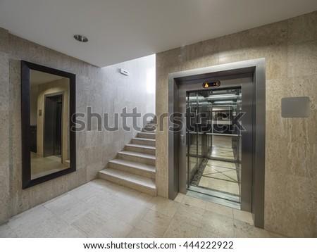Hotel stairs hall interior - stock photo