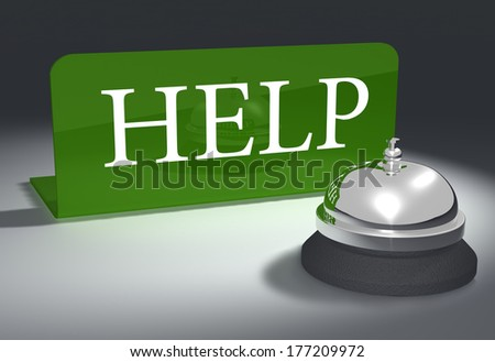 Hotel style help bell on customer service support desk
