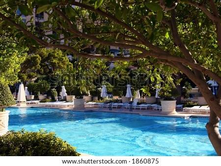 hotel swimming pool. - stock photo