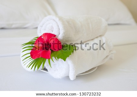 hotel towels - stock photo