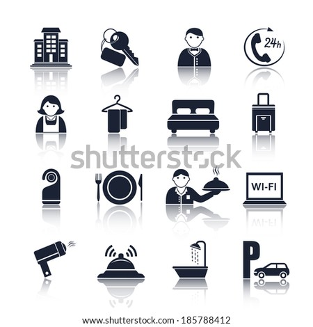 Hotel travel accommodation black pictograms set of room service maid and reception isolated  illustration - stock photo