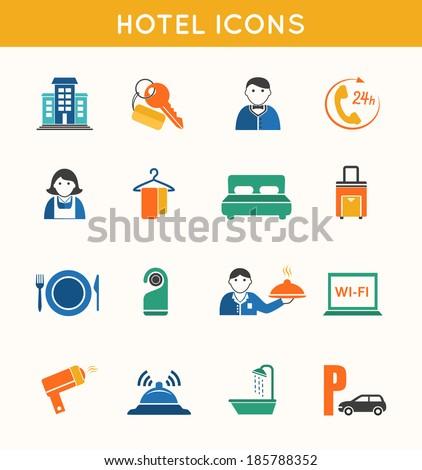 Hotel travel accommodation flat icons set of bath shower key card and luggage isolated  illustration - stock photo