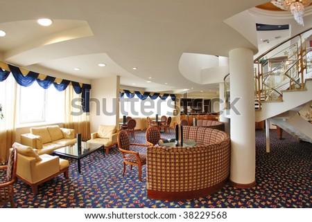 Hotel vestibule with stairway - stock photo