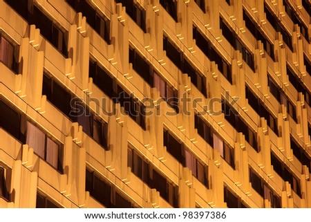 Hotel windows at night - stock photo