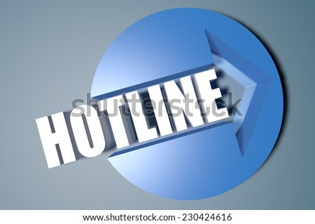 Hotline - 3d text render illustration concept with a arrow in a circle on blue-grey background