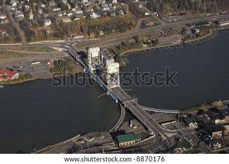 Houghton Michigan lift bridge - stock photo