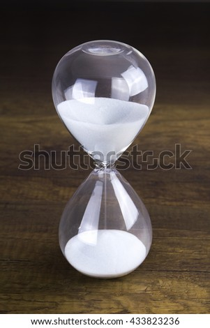 Hour glass presenting time concept in center position