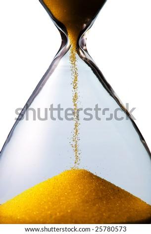 hourglass closeup shot (isolated - white background) - stock photo
