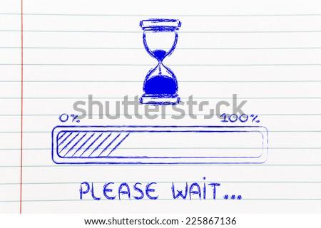 hourglass design and progress bar loading, pc process in progress   - stock photo