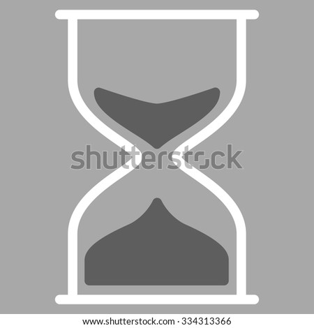 Hourglass glyph icon. Style is bicolor flat symbol, dark gray and white colors, rounded angles, silver background.