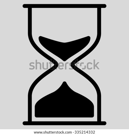 Hourglass glyph icon. Style is flat symbol, black color, rounded angles, light gray background.