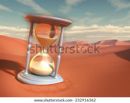 Hourglass in a sand desert. Digital illustration. - stock photo