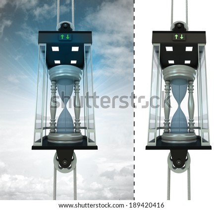 hourglass in sky elevator concept also isolated one illustration - stock photo