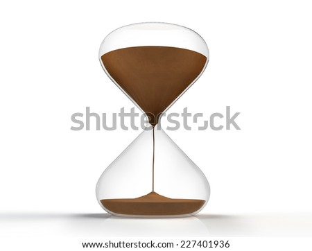 hourglass isolated on white background with clipping path. 3D render - stock photo