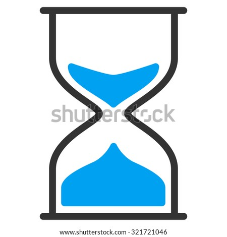 Hourglass raster icon. Style is bicolor flat symbol, blue and gray colors, rounded angles, white background.