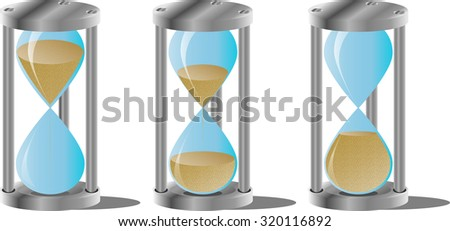 Hourglass set. Clock and hour, timer and minute, countdown, measurement, symbol watch, graphic illustration - stock photo
