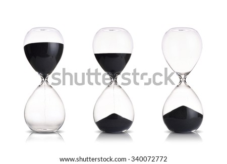 hourglass set on white background - stock photo