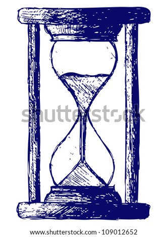 Hourglass sketch. Raster - stock photo