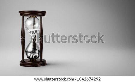 Hourglass with Black and White Yes and No Text in the Sand on Gray Background with Copyspace 3D Illustration, Change Opinion Over Time Concept