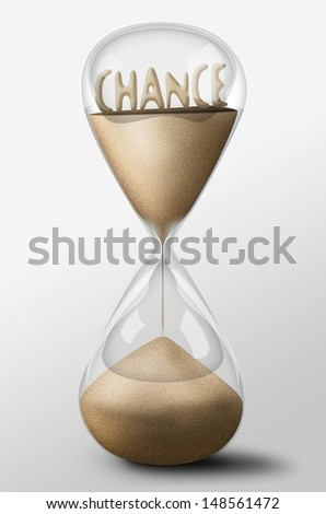 Hourglass with Chance word made of sand inside the clock. Concept of uncertainty