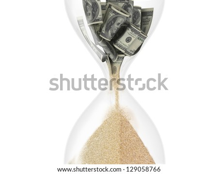 hourglass with dollar inside (time is money concept) - stock photo