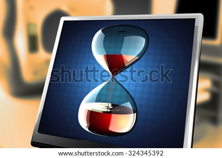 hourglass with dripping liquid at monitor - stock photo