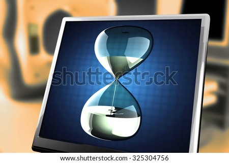 hourglass with dripping liquid at monitor