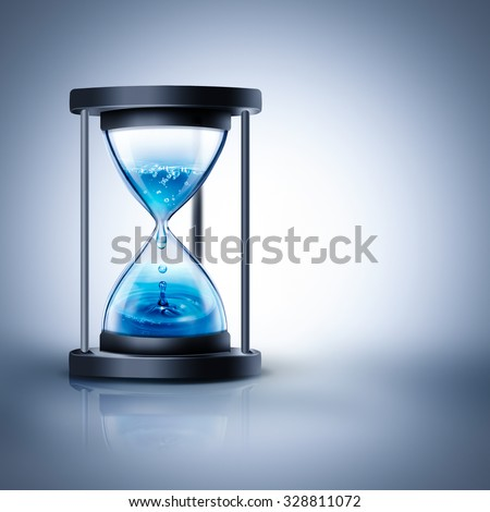 hourglass with dripping water on a light background - stock photo