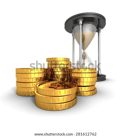 Hourglass With Golden Dollar Coins. Time Is Money Concept. 3d Render Illustration - stock photo
