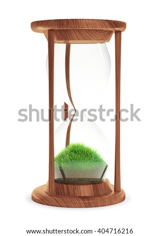 Hourglass with patch of grass inside - ecology concept 3D illustration - stock photo
