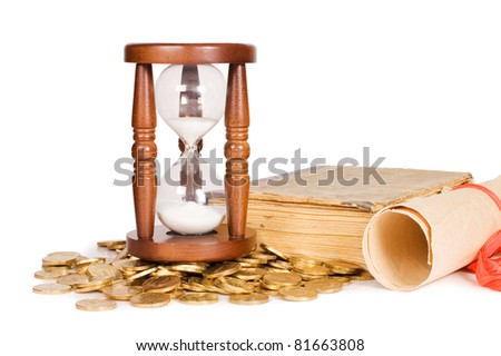 Hourglasses and book isolated on white background - stock photo