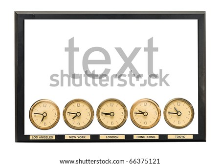 Hours for the hotel, showing time in different time zones - stock photo