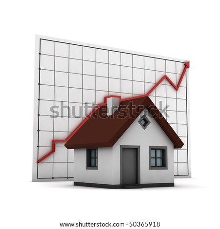 house against chart of real estate market, isolated on white background - stock photo