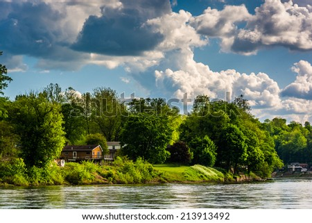 House along the Delaware River, seen from near Easton, Pennsylvania. - stock photo