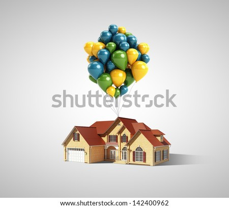 house and balloons on a white background - stock photo