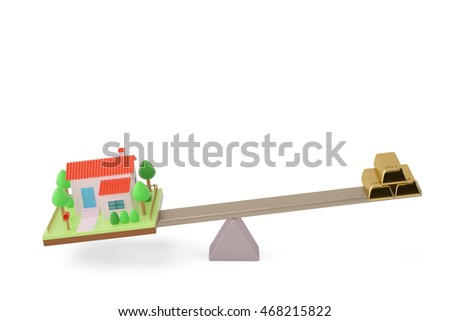 House and bullion on the seesaw,3D illustration.