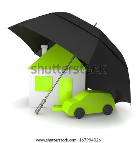 House and car under an umbrella as a symbol of protection - stock photo