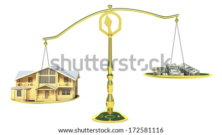 house and cashes on scales - stock photo