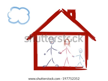 house and family drawing - stock photo